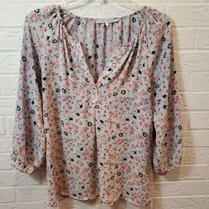 Violet and Claire Floral Long Sleeve Blouse Small